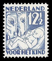 NVPH 235 - Kinderzegel 1930 - winter kerstkribbe