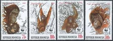 2-postzegels-orang-oetan-indonesie-1989-serie