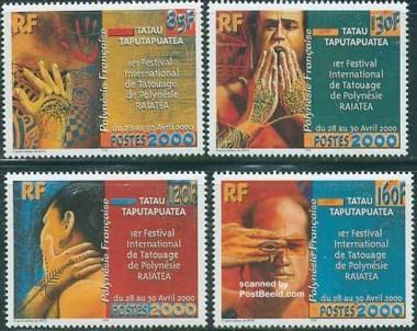 4 postzegels tatoeage Frans Polynesie 2000