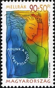 8 postzegel strijd tegen kanker Hongarije 2005 Breast Cancer - Give for recovery