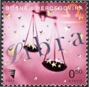 8 postzegel Weegschaal Bosnië Herzegovina 2004