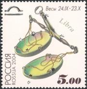 9 postzegel Weegschaal Rusland 2004