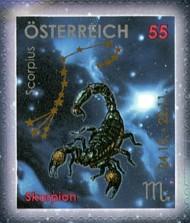 11 postzegel sterrenbeeld Schorpioen Oostenrijk 2005