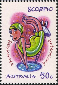 2 postzegel sterrenbeeld  Schorpioen  Australië 2007