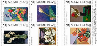 schilderij-bloemen-postzegels