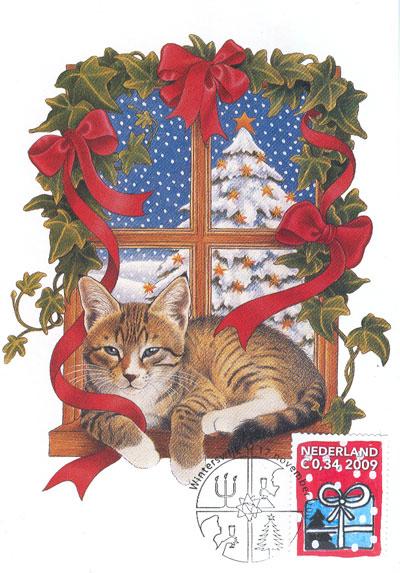 Maximumkaart-poes-kerstboom