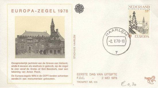 Het stadhuis van Haarlem op speciale een fdc