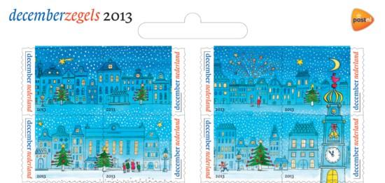 Decemberzegels rij 1 en 2