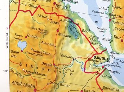 detaikaart Ethiopië
