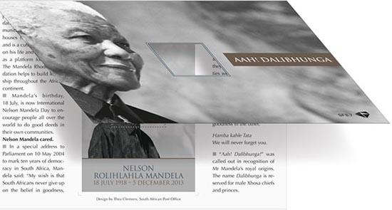 Nelson Mandela postzegelmapje Zuid Afrika 2014