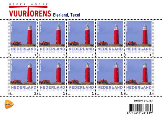 Persoonlijke postzegl vuurtoren PostNL 2014