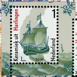 Postzegel Mooi Ned Harlingen op schepentegel