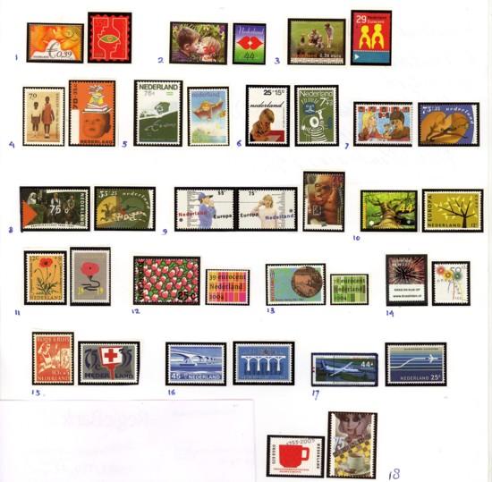 18 postzegelcombinaties