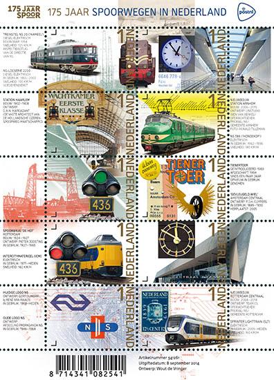 175 jaar Spoorwegen in Nederland postzegels