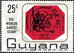 De beroemde zegel is herdacht in een uitgave uit 1967 van Guyana