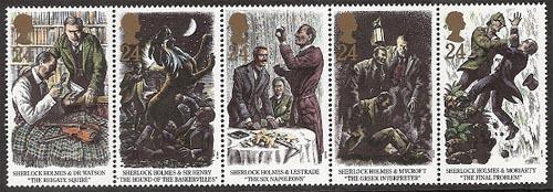 5 Sherlock Holmes zegels
