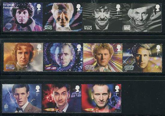Dr Who postzegels Groot Brittannië