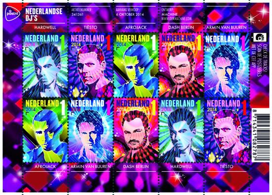 Nederlandse DJs op postzegels PostNL velletje