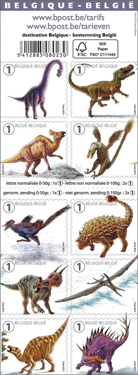 Postzegels België 2015 Geduchte Dinos 7 septemberi