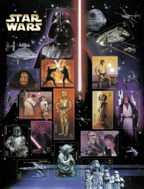 postzegels met Starwars USA 2007