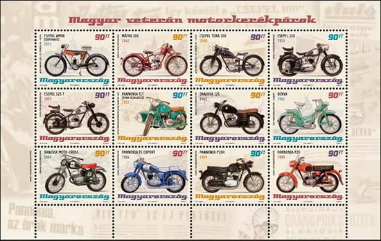 postzegels met motorfietsen uit Hongarije 2014
