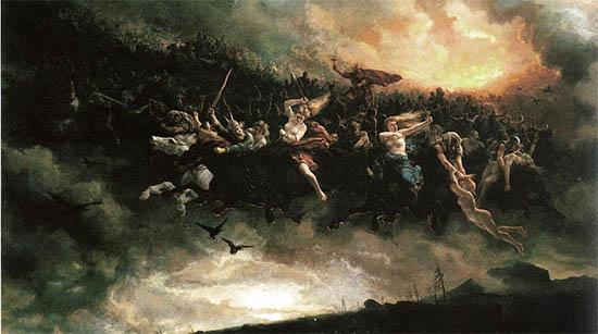 De Wilde jacht van Wodan geschilderd door Peter Nicolai Arbo in1872