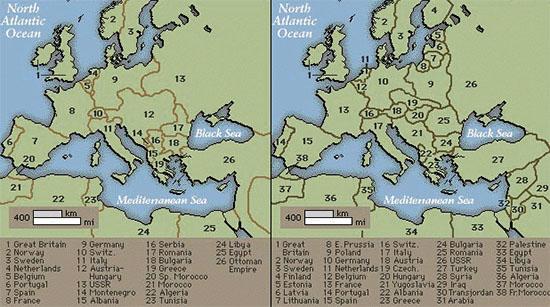 Kaart van Europa vóór en na de eerste wereld oorlog