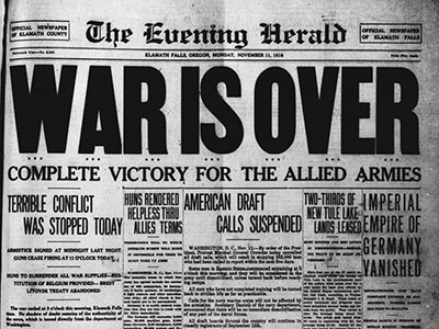 War is Over 1918 The Evening Harold