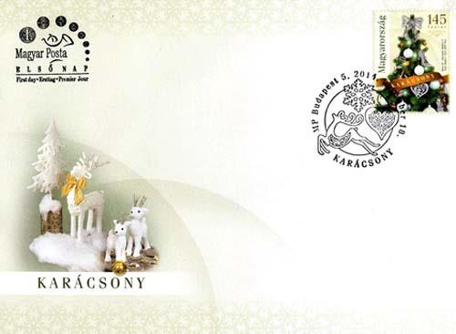 Eerste dag envelop Hongarije met een kerstpostzegel.