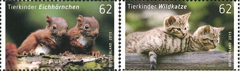 Postzegels eekhoorns en wilde katten Duitsland