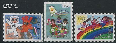ozp31404 postzegels Oezbekistan Children paintings 3v