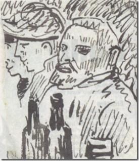 Van Gogh met twee andere personen met drankflessen op de voorgron