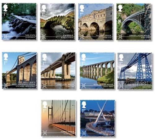 bruggen op postzegels