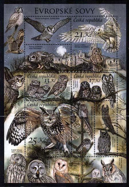 uilenpostzegels Tsjechie