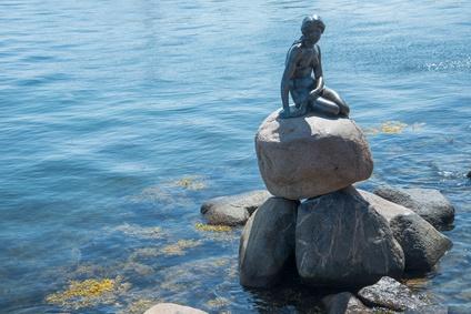 The monument of the Little Mermaid in Copenhagen, Denmark, Europe