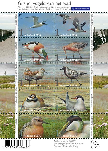 Postzegelvel griend vogel van het wad