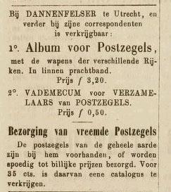 Een advertentie van Dannenfelser in het Leids Dagblad van 18 augustus 1864.