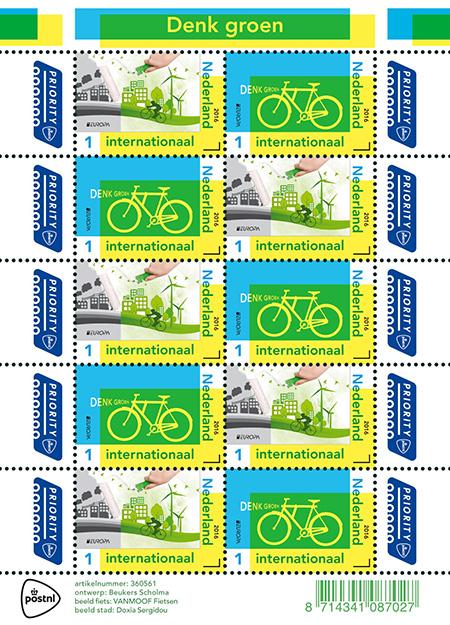 postzegelvel Europa - Denk groen