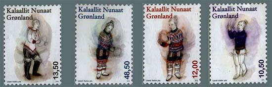Postzegels klederdracht Groenland