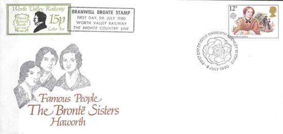 Treinbrief met afbeelding van de gezusters Brontë, gemaakt door broer Branwell. Hij was behalve dichter ook een begenadigd schilder.