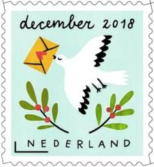 Decemberzegel 2018 - kerstpostduif met envelop
