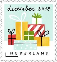 Decemberzegel 2018 - stapel kerstcadeautjes