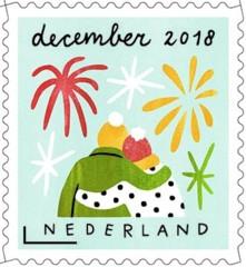 Decemberzegel 2018 - verstrengeld paar kijkt naar vuurwerk